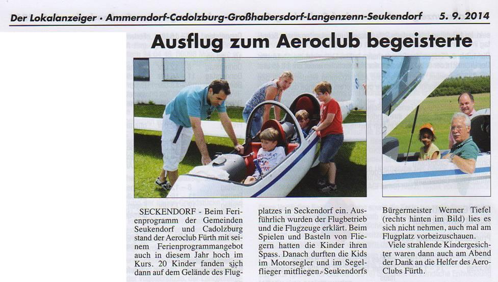 Ferienprogramm des Aero Club Fürth